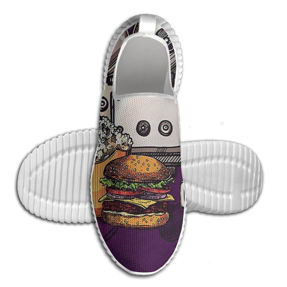 DiamondsJun Unisex Cartoon Like Cinema Movie Image Burgers Popcorns Glasses All Over 3D Printed Mesh Slip On Fashion Comfortable Shoes 45