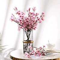 HO2NLE 4PCS Artificial Flowers Branches Faux Silk Cherry Blossoms Stem Fake Floral...