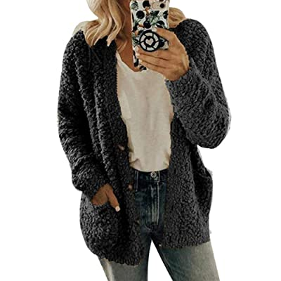 Women Knit Open Front Cardigan - Button Down Long Sleeve Sweater Coat Outwear with Pockets S XXXL at Women's Clothing store
