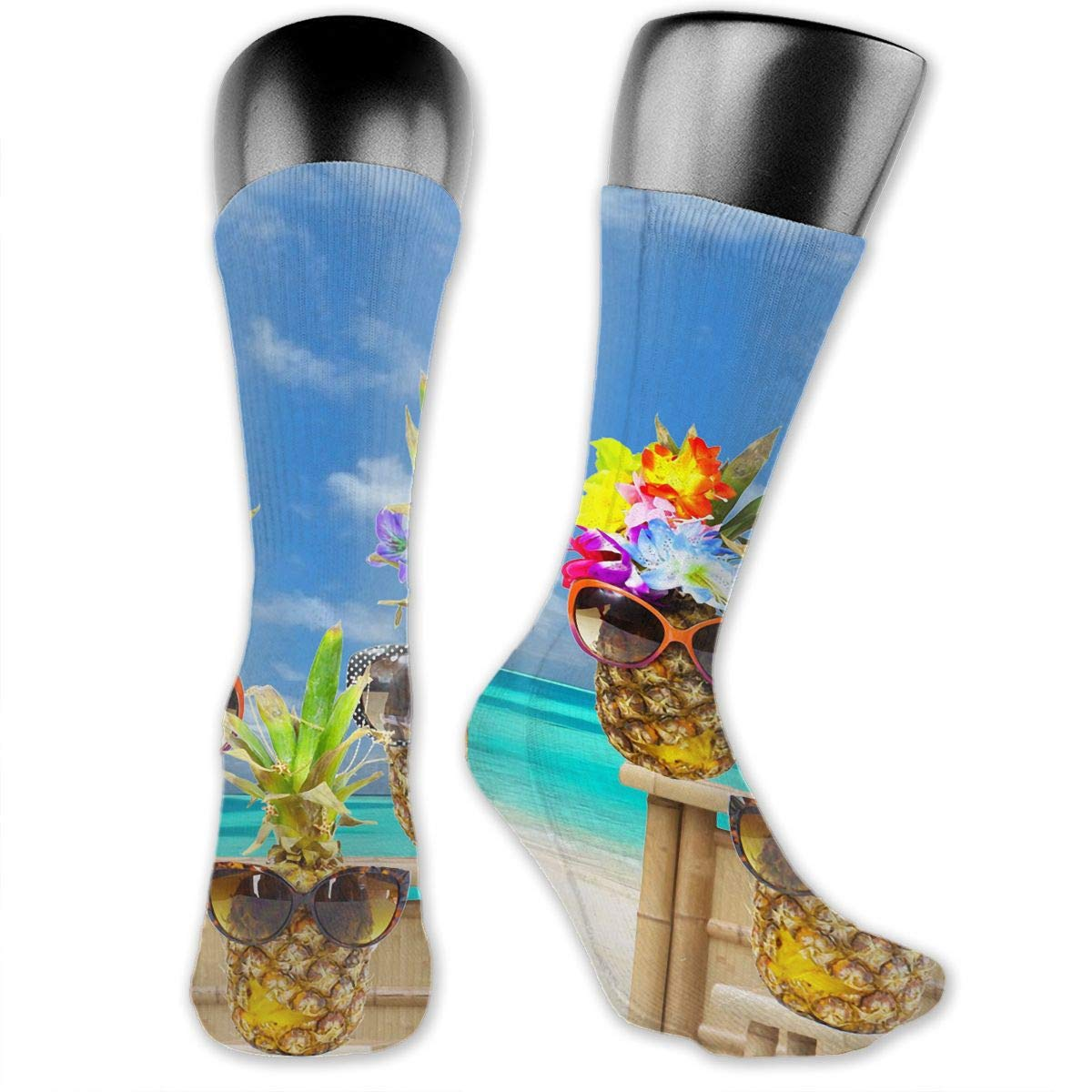 OLGCZM Pineapple Beach Sunglasses Men Womens Thin High Ankle Casual Socks Fit Outdoor Hiking Trail