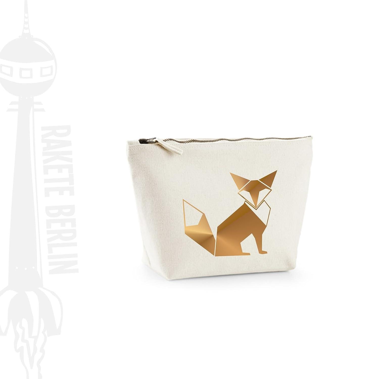 Kosmetiktasche (M) 'Fuchs Origami' Baumwoll Canvas