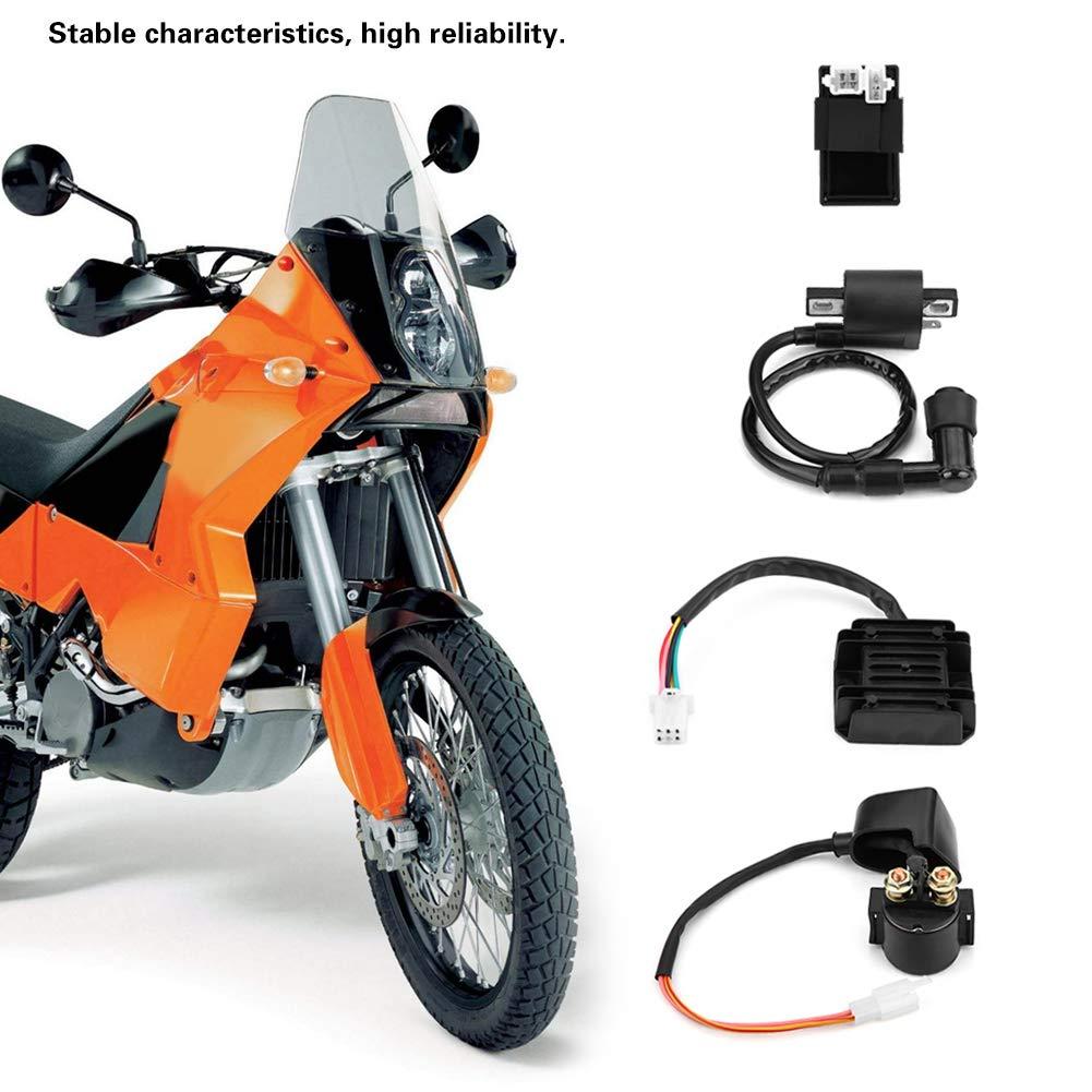 solenoide para 150cc 250cc PIT Quad Dirt Bike ATV Buggy unidad CDI KIMISS Solenoide de rel/é,4 piezas Bobina regulador rectificador