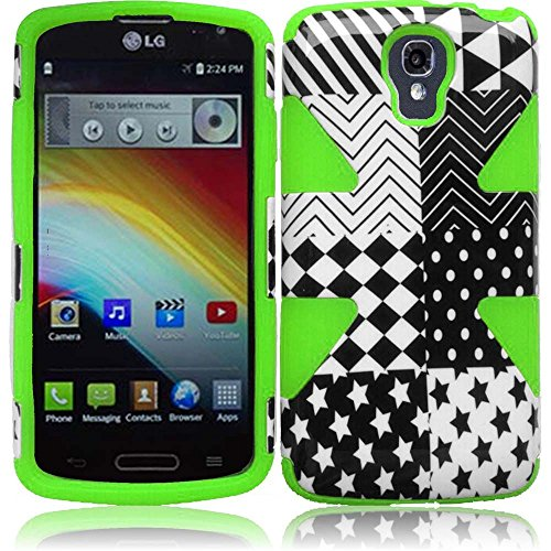 Warrior Wireless (TM) For LG LS740 Volt F90 Dynamic Slim Hybrid Cover Case - Checkered Star+Neon Green + Bundle = (ITEM + CELLPHONE STAND) - By TheTargetBuys