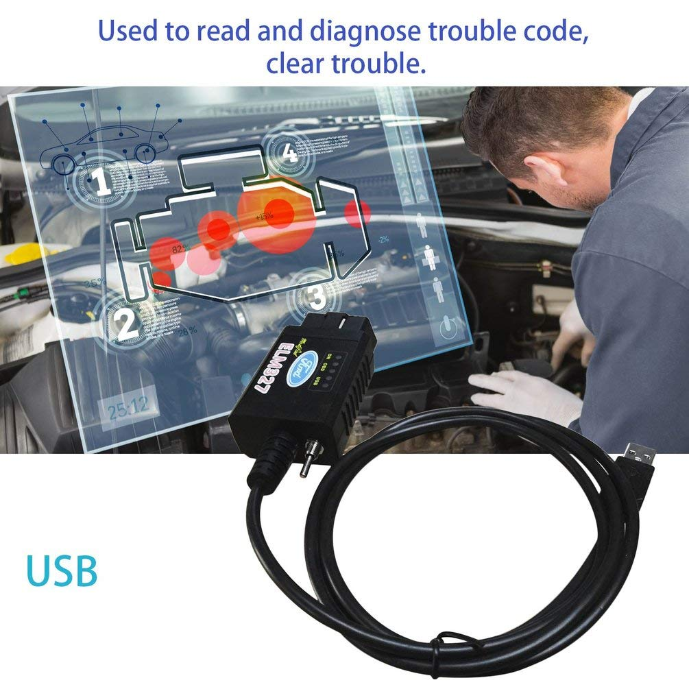 TAOHOU USB Modified ELM327 MS-Can HS-Can Forscan OBD2 Diagnostic Scanner for Ford Black