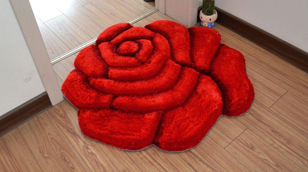 FIOFE/Roses FIOFE/Roses FIOFE/Roses Teppich, Drehstuhl Stuhl Computer Kissen, europäischen kreisförmigen Wohnzimmer Korb Korb Teppich (Farbe : Rot, größe : 120cm) 548410