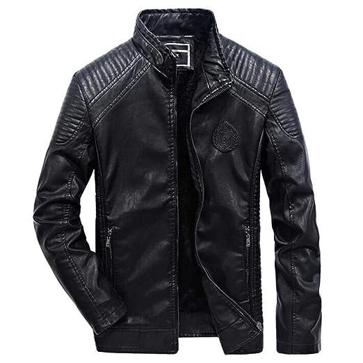 Leather JacketSlim Fit Pu Biker Motorcycle Leather Jackets Mens Fashion Plus Size 5XL 6XL Warm Stand