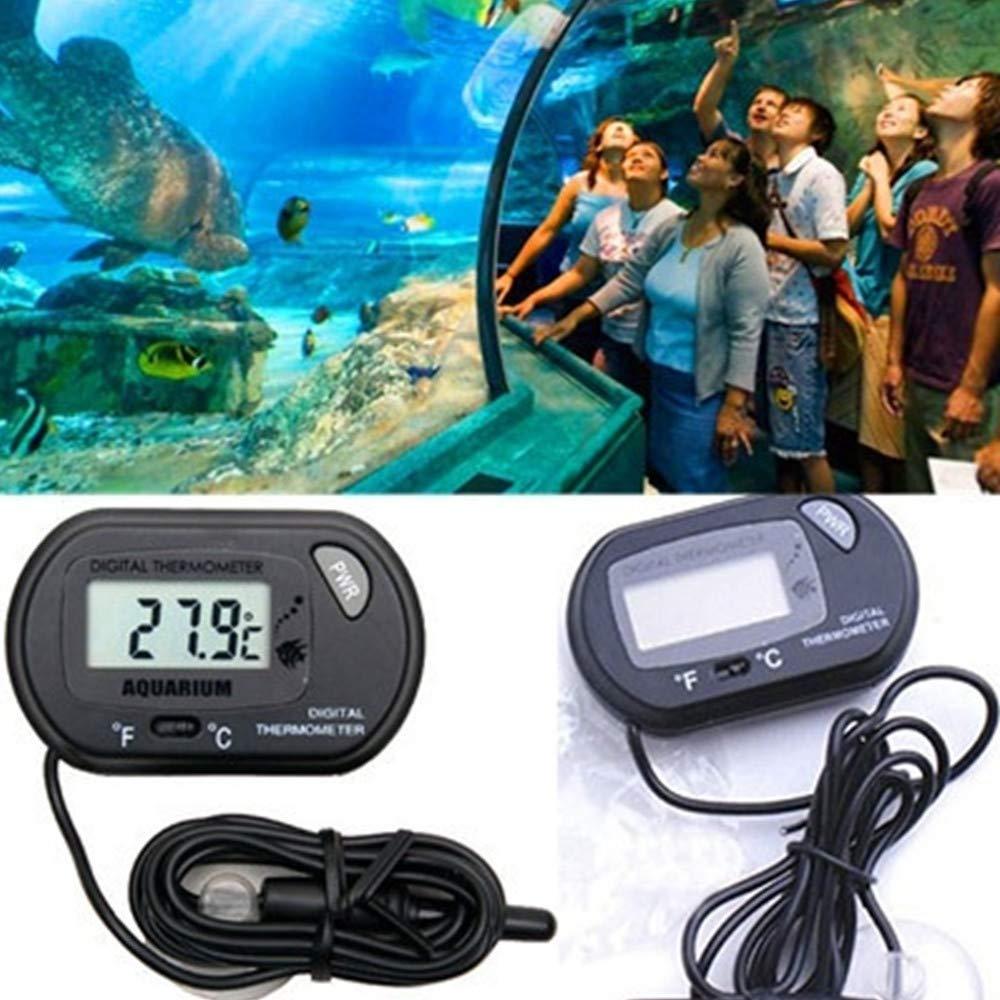 Wffo Digital LCD Fish Aquarium Marine Vivarium Thermometer -50°C to 70°C (Black)