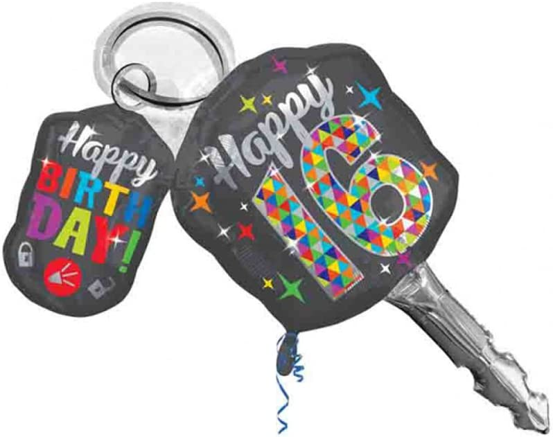 "Sweet 16 Birthday Car Keys Shaped 38"" Mylar Balloon"