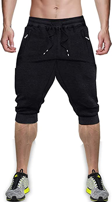 MINHAO Mens 3//4 Joggers Below Knee Breathable Capri Pants Causal Long Shorts with Pockets