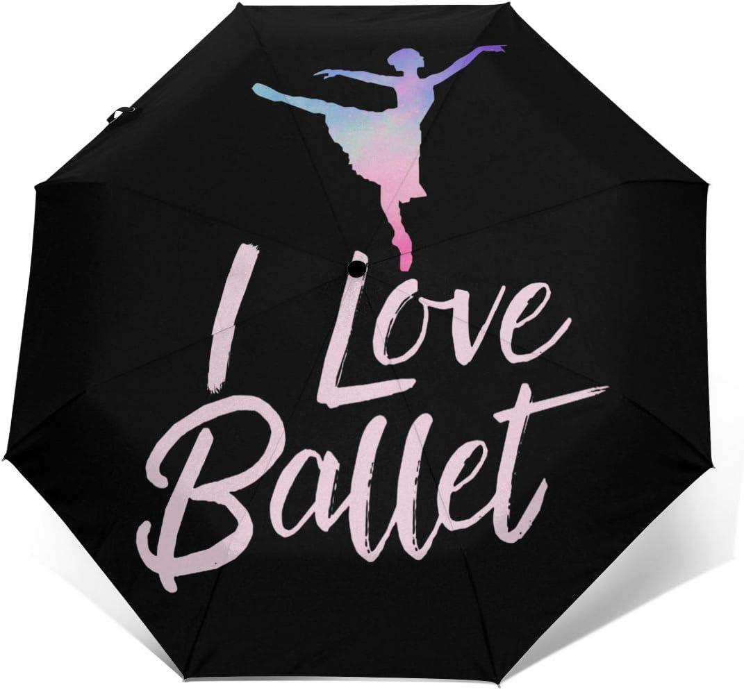 Love Ballet Automatic Tri-Fold Umbrella Parasol Sun Umbrella Sunshade