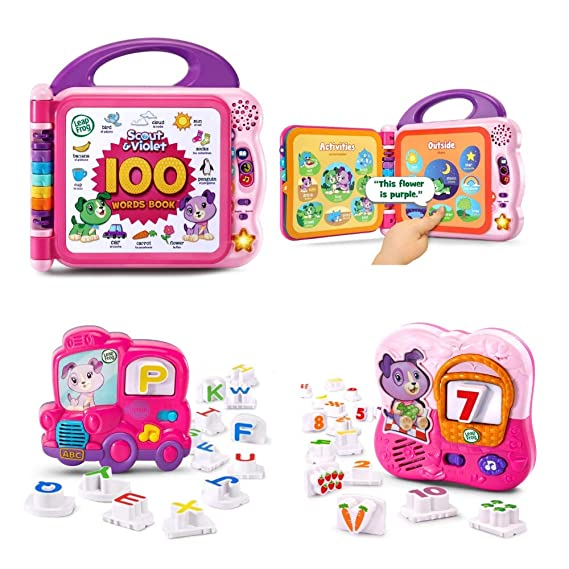 Amazon.com: Bilingual Scout and Violet 100 Words Book, Leapfrog Fridge Phonics Magnetic Letter and Number Set, Pink, Learning Toys, Toddlers, Girls, ...