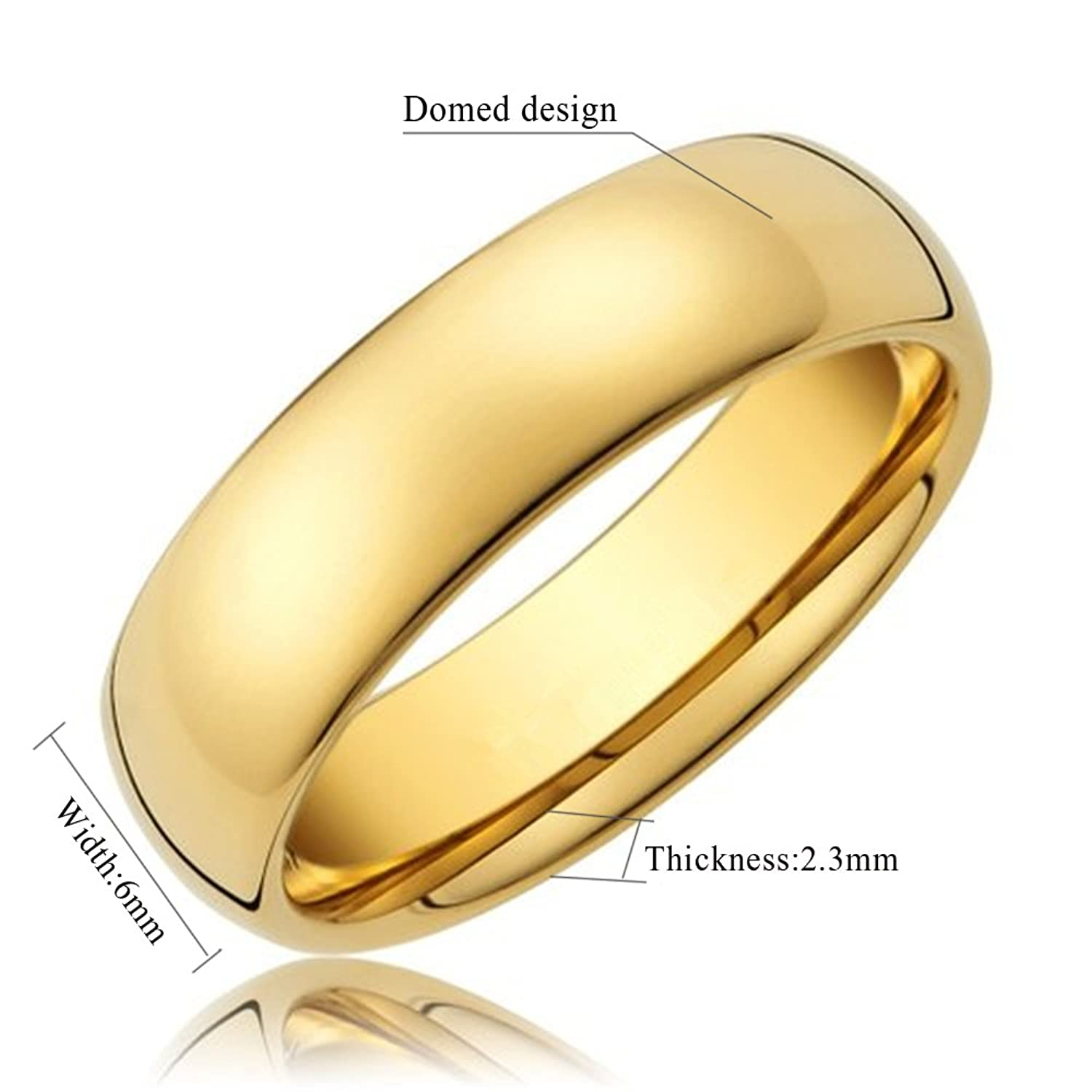 Amazoncom King Will GLORY 6mm 24k Gold Plated High Polished