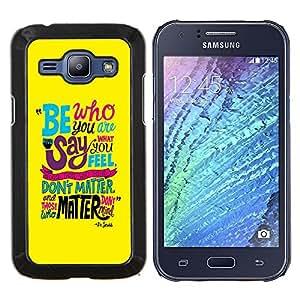 - BE INSPIRING FUNKY MESSAGE TEAL YELLOW TEXT - Caja del tel¨¦fono delgado Guardia Armor- For Samsung Galaxy J1 J100 J100H Devil Case