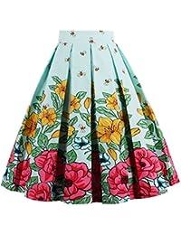Women's Pleated Vintage Skirt Floral Print A-Line Midi...