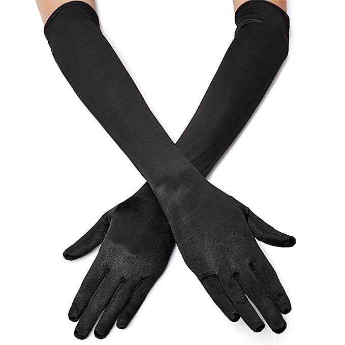 Victorian Gloves | Victorian Accessories QNPRT 1920s Opera Satin Long Gloves 19.5 Elbow Length 12BL $8.99 AT vintagedancer.com