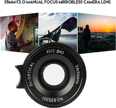 Bulufree 7artisans 35 mm F2.0 Enfoque Manual Objetivo cámara Full ...