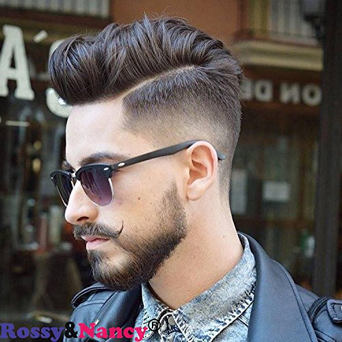 Rossy&Nancy Men Hairpiece Real French Lace European virgin Human Hair Replacement Toupee for Men Thin Skin 1B# Black Color