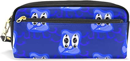 Estuche para lápices con diseño de monstruo de dibujos animados, color azul, para la escuela, artículos de papelería, viajes, cosméticos, bolsa de maquillaje: Amazon.es: Oficina y papelería
