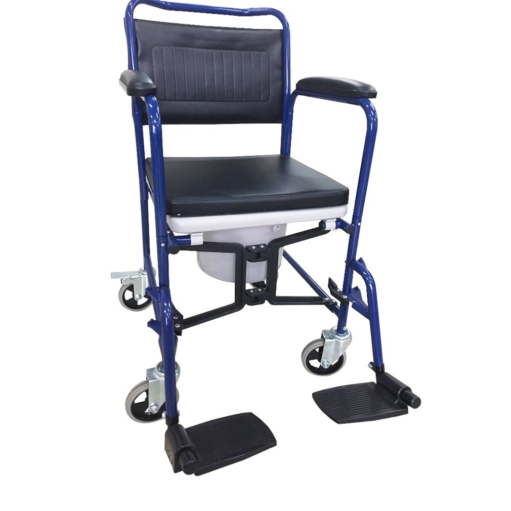 yuwell Medical Folding Commode Shower Wheelchair with Locking Rear Castors, Detachable Armrests & Footrests and Removable Seat Cushion