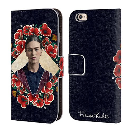 Official Frida Kahlo Poppy Wreath Portrait 2 Leather Book Wallet Case Cover for iPhone 6 / iPhone 6s
