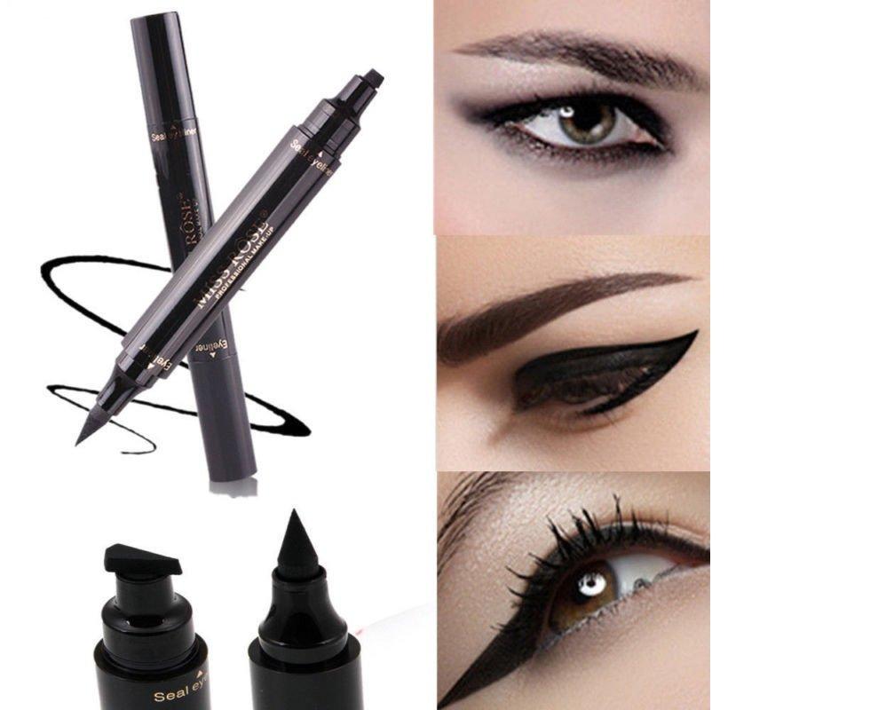 ILOVEDIY 2 en 1 Eyeliner Pen et Stamp Stencil Maquillage Pencil Noir Feutre Liquide Waterproof Yong Li Factory