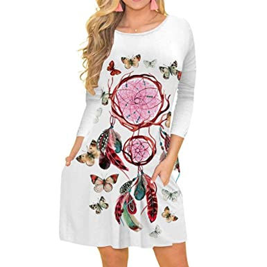 1307691b0 DEATU Ladies Dress, Teen Womens Casual Three Quarter Sleeve Short Mini Dress  Floral Print Tops Pocket at Amazon Women's Clothing store: