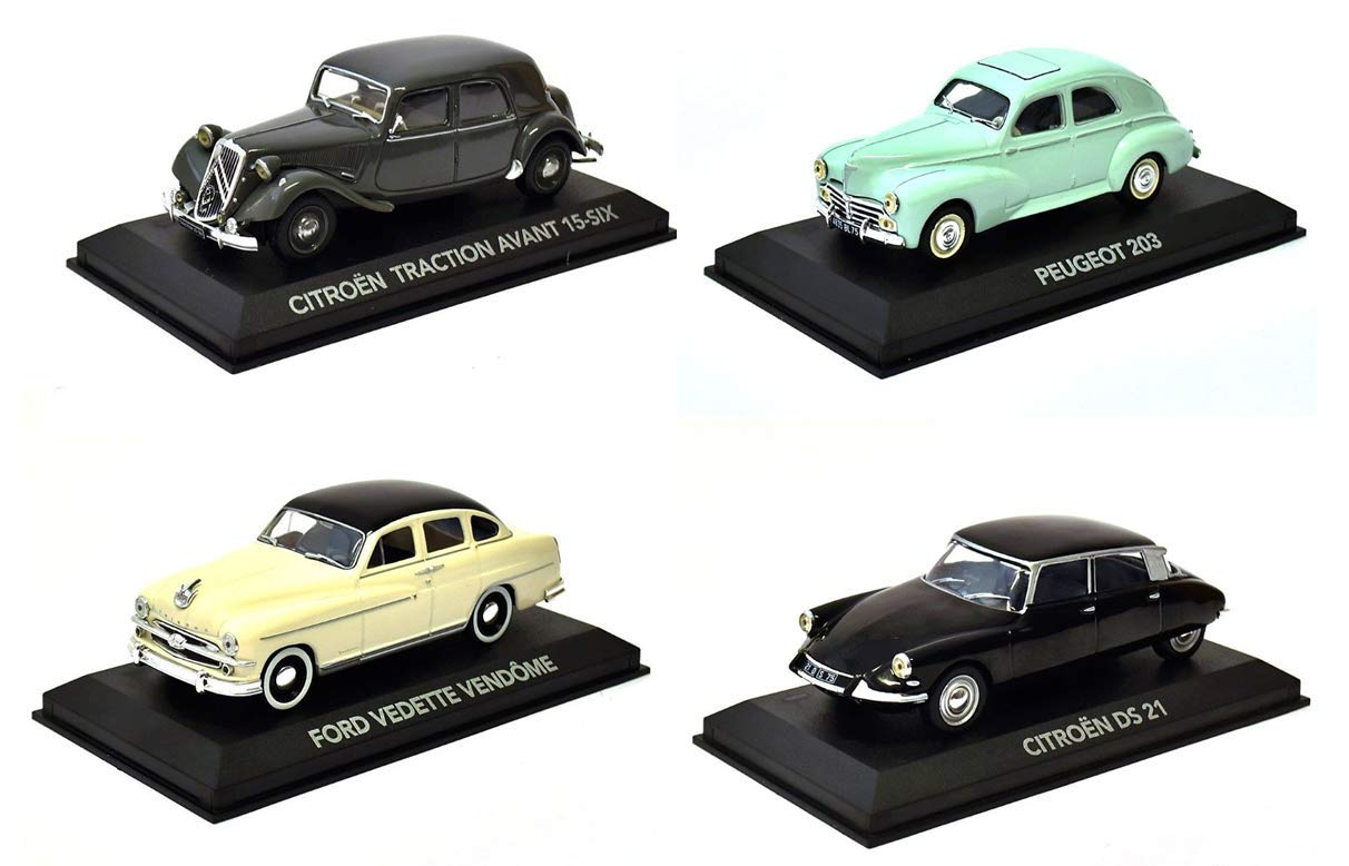 Atlas Lot of 4 Cars: Peugeot 203 Ford Featured 1//43 Ref: 1 + 3 + 5 + 17 Citroen DS21 Citroen Traction
