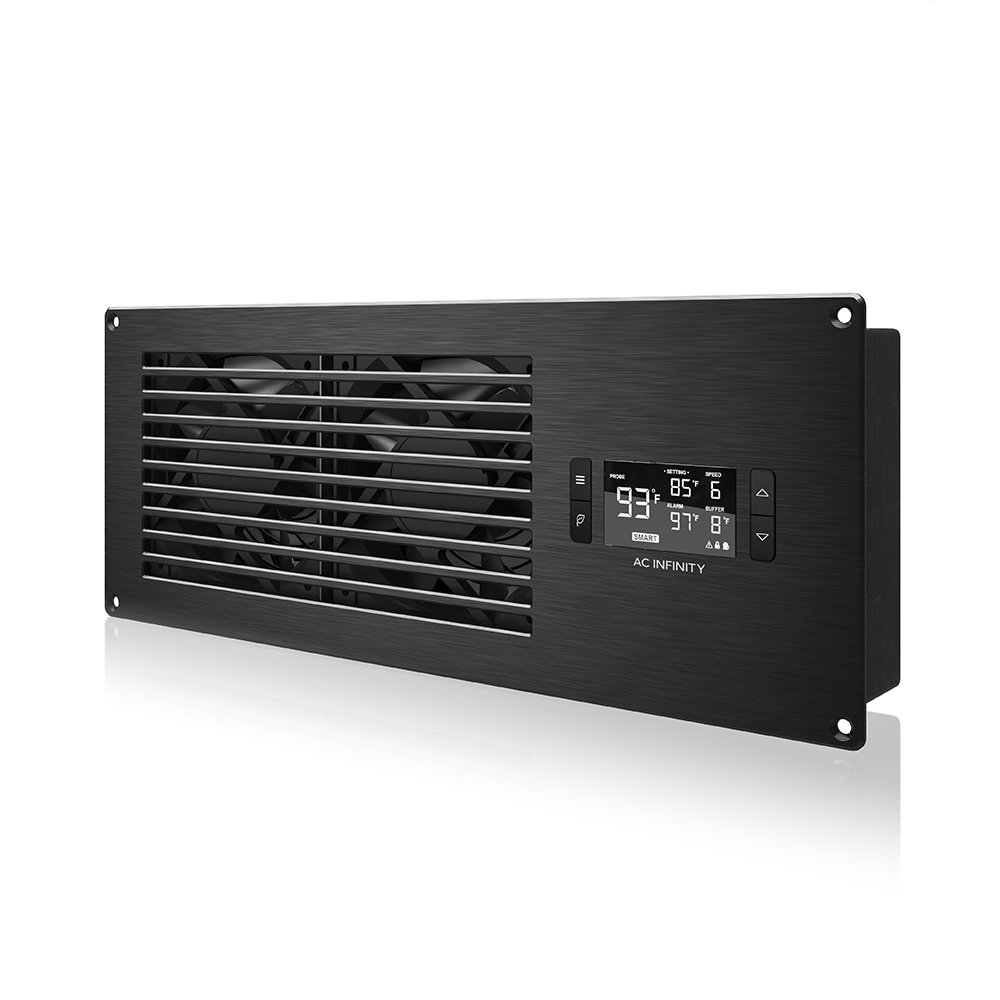 "AC Infinity AIRFRAME T7 Black, High-Airflow Cooling Fan System 16"", Exhaust Airflow, for AV Equipment Rooms, Closets, and Enclosures"