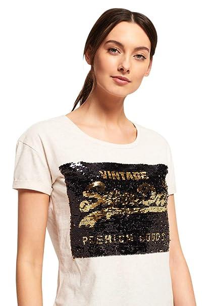 f23e6f0ff481 Superdry Women's Premium Sequin Slim Boyfriend T-Shirt, Oatmeal Marl,  X-Large