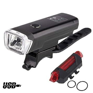 GOPG Set Luces de Bicicleta USB Recargable, Nuevos Delantera y Luz ...