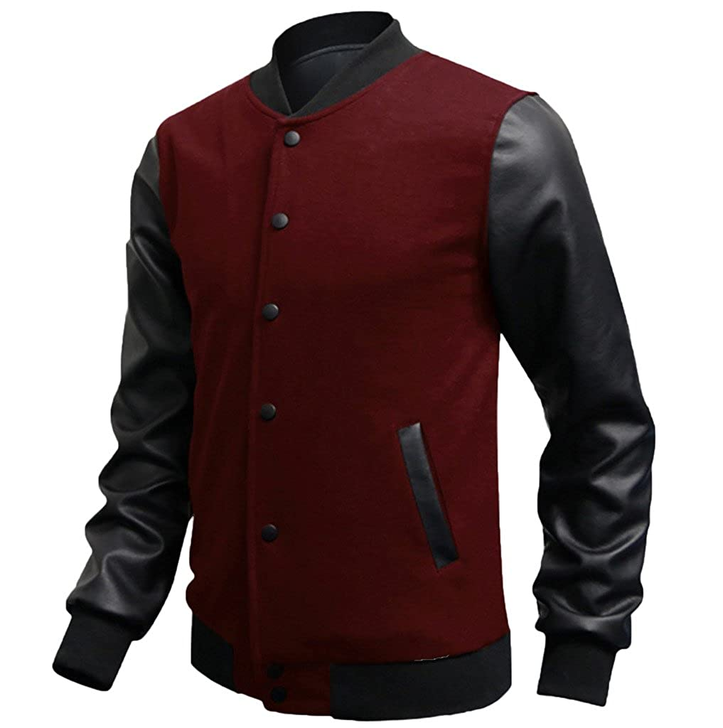 Elonglin Mens Casual Sport Bomber Jacket Faux Leather Long Sleeves EL.WY41