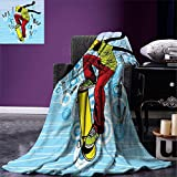 smallbeefly Youth Throw Blanket Teenager Playing Skateboard on Street with Abstract City Background Circles Buildings Warm Microfiber All Season Blanket for Bed or Couch Multicolor