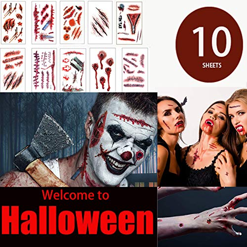 Halloween Zombie Makeup Scar Tattoos Stickers - Man Woman Temporary Tattoos Halloween Blood Costume Decorations Party Favors Supplies Funny Fake Decorfor Kids Adults Cosplay 10 Sheets 76