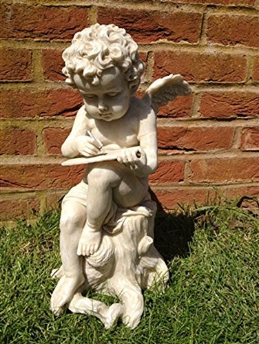 Amalfi Cherub Sitting on Tree with Book Garden Statue 40cm