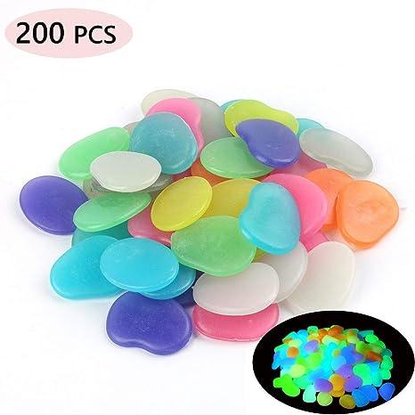 Piedras Brillantes en la Oscuridad 200 por Paquete, Mezcla de Piedras Luminosas de Colores para