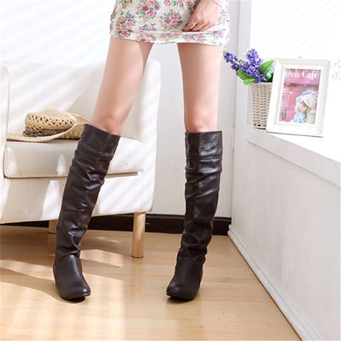 Botas De Martin Zapatos OHQ Mujer Knight Punta Redonda con Cordones De Cuero Fino De TacóN Largo Martin Boots: Amazon.es: Zapatos y complementos