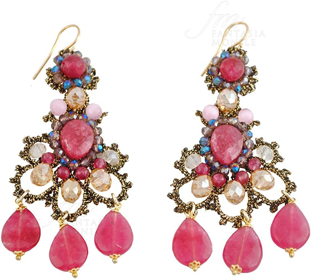 Pendientes Encaje Frivolité Haute Couture piedras naturales rubí ojo de gato hecho a mano diseño monile h0foyfm