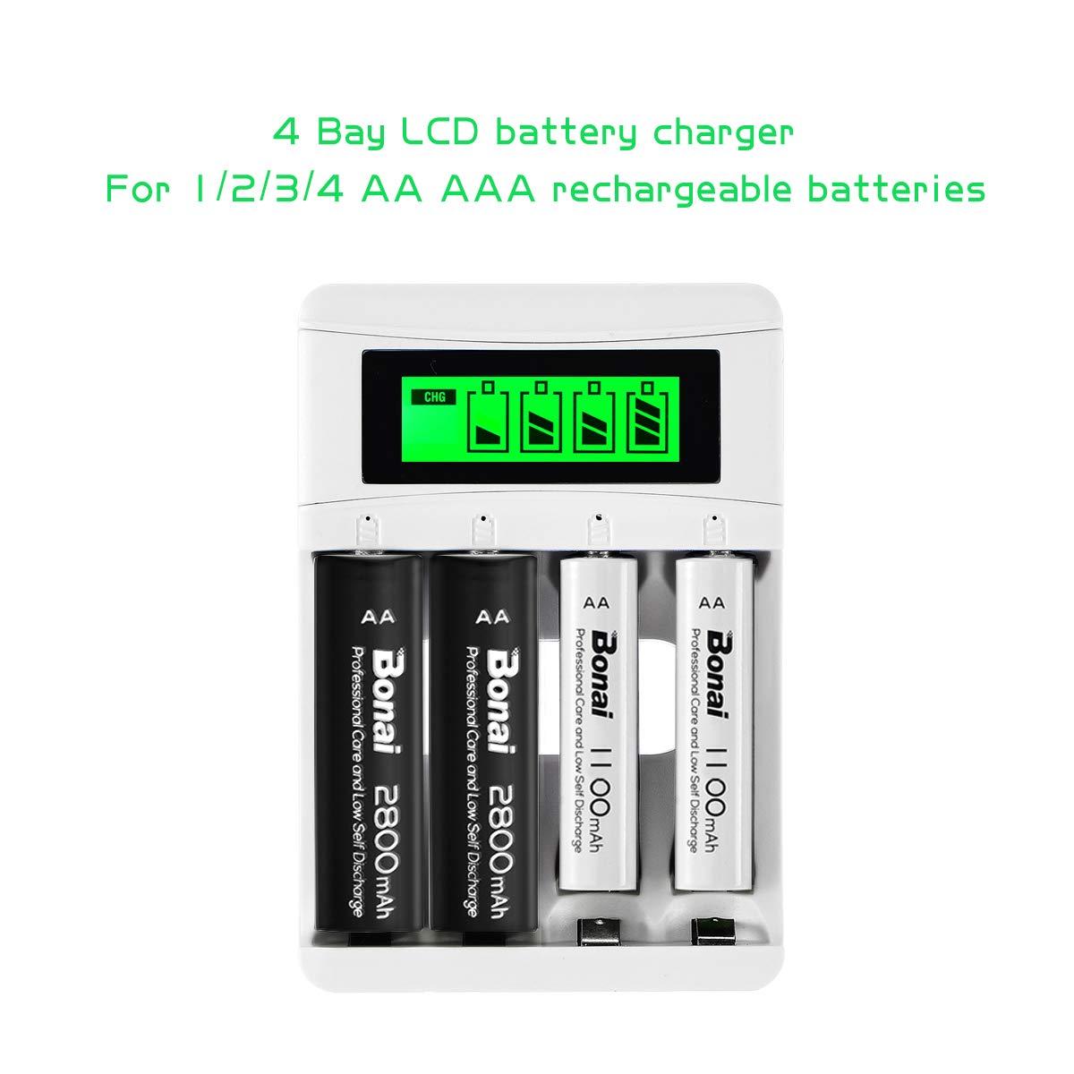 BONAI Cargador Pilas AA/AAA Recargable Inteligente Pantalla LCD Ni-MH Ni-CD Batería con Puerto USB
