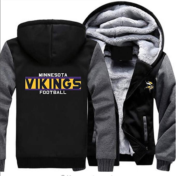 detailed look e7c33 f785d Gloral HIF Men's Minnesota Vikings Velvet Winter Zipper Plus Size Hoodie  Jacket Coat