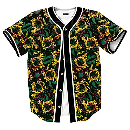 Pattern Framed - PIZOFF Unisex Arc Bottom 3D Print Button Down Pattern Baseball Team Jersey Shirt