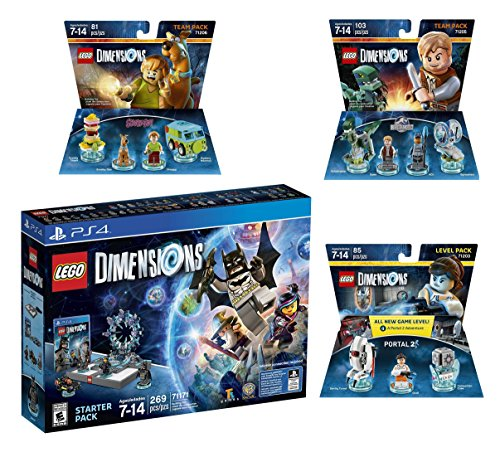 Lego Dimensions Starter Pack + Portal 2 Level Pack + Scooby Doo Team Pack + Jurassic World Team Pack for Playstation 4 or PS4 Pro Console (Portal 2 Playstation 4)