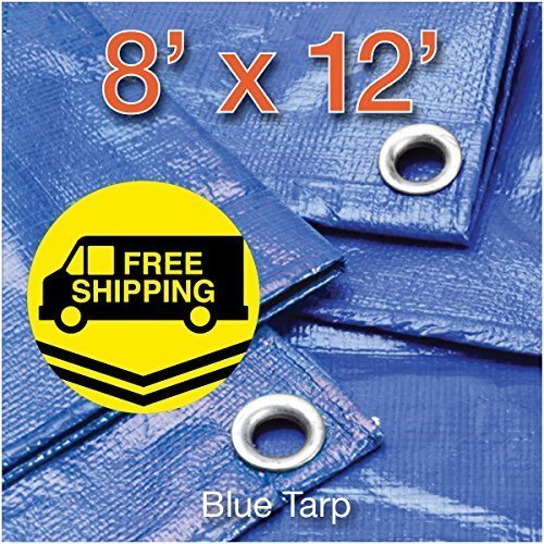 Comfitwear MT-812 8' x 12' Poly Tarp Cover, Waterproof Tent Shelter Camping RV Boat Tarpaulin, Blue