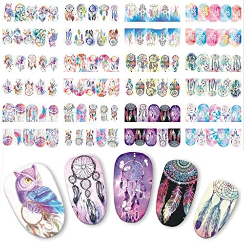 12 Pack Halloween Owl Campanula Nails Art Sticker Water Transfer Decal Professional Girls Stamper Plates Graceful Popular Tool Tips Nail Wraps Kits -