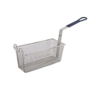 Winco FB-20, 13.25 x 5.6 x 5.9-Inch Nickel Plated Fry Basket with Plastic Blue Handle, Deep Fryer Basket