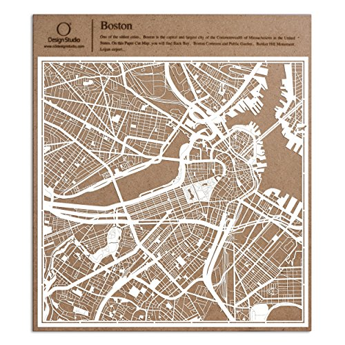 Boston Paper Cut Map by O3 Design Studio White 12x12 inches Paper Art