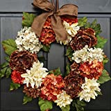 Large Thanksgiving Fall Wreath for Front Door Decor; Artificial Dahlia, Hydrangea and Peony Mix; Brown, Cream and Orange Rust; 24 Inch
