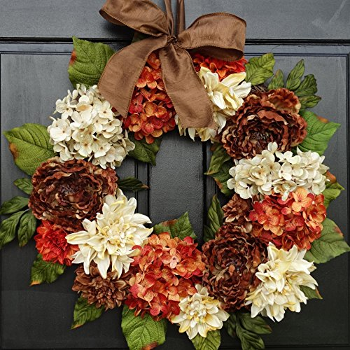 Large Thanksgiving Fall Wreath for Front Door Decor; Artificial Dahlia, Hydrangea and Peony Mix; Brown, Cream and Orange Rust; 24 - Base Finished Rust Autumn