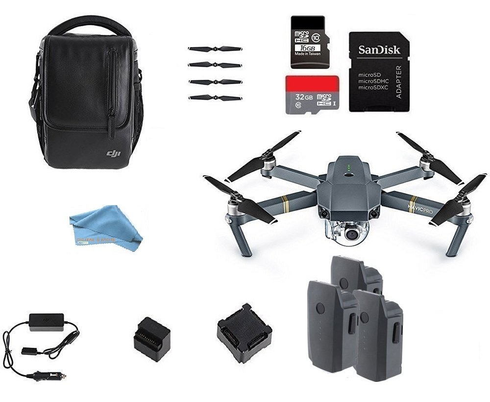 DJI Mavic Pro STARTERS Bundle with Shoulder Bag, Props, Car Charger and 2 Extra Batteries, 16GB and 32GB MicroSD Memory Card, & DIGITAL AND MORE Lens Cleaning Cloth by DigitalandMore