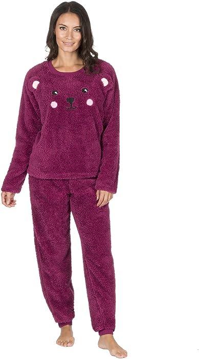 a02a79cf12 Forever Dreaming Ladies Snuggle Fleece Twosie Pyjama Set - Novelty PJ Top    Bottoms Burgundy S  Amazon.co.uk  Clothing