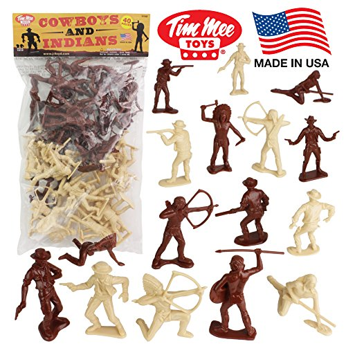 TimMee COWBOYS and INDIANS Plastic Figures: 40pc Playset - Made in - Brown Figurine Horse